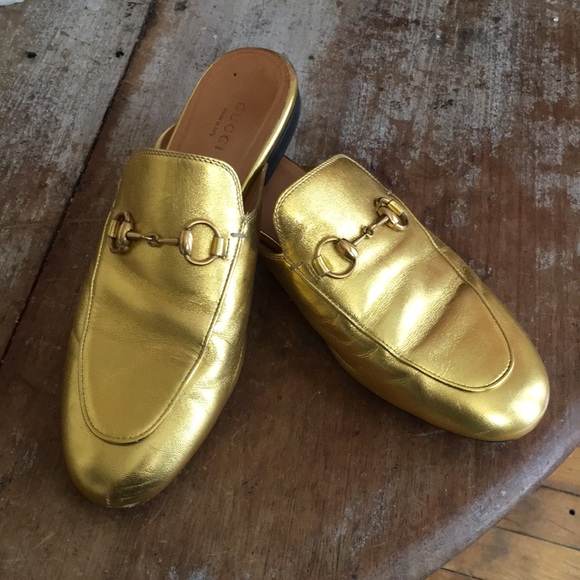 c270298344bd Gucci Shoes - Gucci gold princetowns leather mules